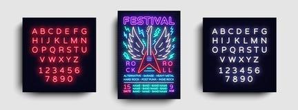 Rockmusikkonzert-Plakatvektor Design-Schablonen-Rockmusik-Festival, Neonart, Neonfahne, heller Flieger, Konzert lizenzfreie abbildung