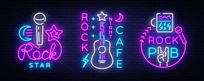 Rockmusiksammlung Neonlogo-Vektor Schaukeln Sie Kneipe, Café, Rockstar-Leuchtreklamen, Begriffssymbole, helle Nacht vektor abbildung