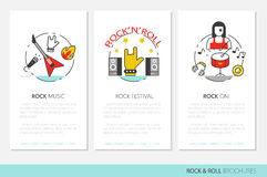 Rocknroll Business Brochure Template with Linear Thin Line Icons vector illustration