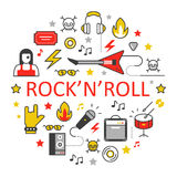 Rocknroll Line Art Thin Icons Set with Musical Instruments Stock Photo