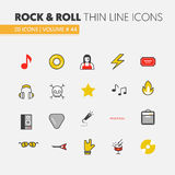 Rocknroll Linear Thin Line Icons Set with Musical Instruments. Rocknroll Linear Thin Line Vector Icons Set with Musical Instruments Royalty Free Stock Photo