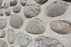 Rockowa ściana naturalni rzeczni kamienie Round kamień ściany tło Rzeczny round kamieni wzór Dryluje teksturę Rzeczne skały Obraz Stock