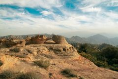 Rockowa góra w Dana biosfery rezerwie w Jordan Zdjęcie Stock