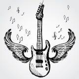 Rockowa gitara i skrzydła ilustracji