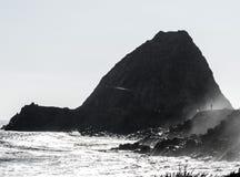 Rockowa plaża z łodzią i oceanem Fotografia Royalty Free