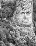 Rockowa rzeźba Decebalus ostatni królewiątko Dacia cyzelowanie w skale, na rzecznym Danube przy Żelaznymi bramami, Obrazy Stock