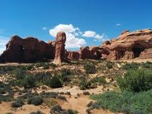 Rockowe formacje i kopia łuk przy łuku parkiem narodowym z cieniami i światłem, zdjęcie stock