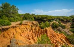 Rockowe formacje przy Praia da Falesia blisko Albufeira, Portugal algarve obraz stock