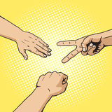 Rockowej papierowej nożyce ręki wystrzału sztuki stylu gemowy wektor Zdjęcia Stock