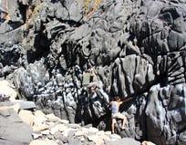 Rockowi arywiści bouldering wokoło Concon linii brzegowej obraz royalty free
