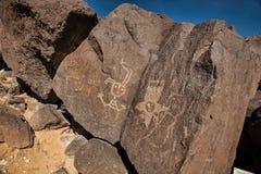 Rockowi rysunki przy petroglifu Krajowym zabytkiem Zdjęcie Stock