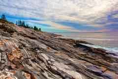Rockowi wypusty Pemaquid punkt, Maine Obraz Royalty Free
