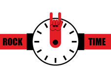 Rockowy czas Zegarek jako strzała skały ręki znak Wristwatches dla to ilustracji