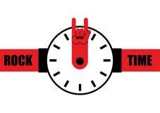 Rockowy czas Zegarek jako strzała skały ręki znak Wristwatches dla to Obraz Stock