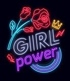 Rockowy druku i sloganu wektor Dziewczyny władza Dla koszulki lub innych purposes Symbol feminizm dla drukować w neonowym stylu royalty ilustracja