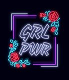 Rockowy druku i sloganu wektor Dziewczyny władza Dla koszulki lub innych purposes Symbol feminizm dla drukować w neonowym stylu ilustracji