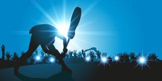 Rockowy gitarzysta łama jego gitarę na scenie ilustracji