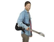 Rockowy gitarzysta z gitarą elektryczną na białym tle Zdjęcie Royalty Free