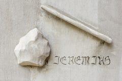 Rockowy i kij symbol - Piekarnianego pomnika Zlany kościół metodystów obrazy stock