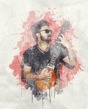 Rockowy muzyk bawić się gitary elektrycznej pozycję Zdjęcie Royalty Free
