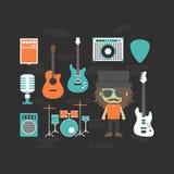 Rockowy muzyk i muzyczny instrument ilustracji