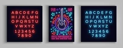 Rockowy n rolki muzyka na żywo Typografia, plakat w neonowym stylu, Neonowy znak, ulotka projekta szablon dla rockowego festiwalu royalty ilustracja