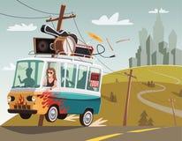 Rockowy ` n ` rolki zespół na wycieczce turysycznej w retro samochodzie dostawczym royalty ilustracja