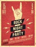 Rockowy nocy przyjęcia plakat Rocznik projektująca wektorowa ilustracja Zdjęcie Royalty Free