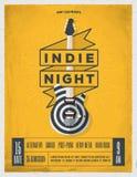 Rockowy nocy przyjęcia plakat Ulotka Rocznik projektująca wektorowa ilustracja Fotografia Royalty Free