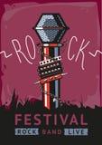 Rockowy plakat z mikrofonem Obrazy Stock