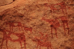 Rockpainting in the Sahara Royalty Free Stock Photos