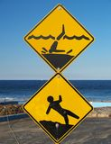 Rockpool caution signs royalty free stock photo
