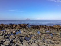 Rockpools e ilha de Craig, Escócia fotos de stock royalty free
