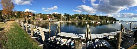 Rockport海洋港口全景在缅因 免版税库存图片