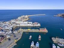 Rockport港口和主题第1, MA,美国 免版税库存照片