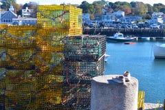 Rockport, armadilhas da lagosta de Massachusetts imagem de stock royalty free