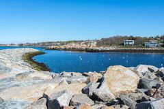Rockport Harbor with blue and clean sky Stock Images
