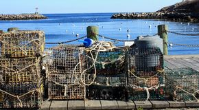 Rockport Harbor Lobster Traps stock photography