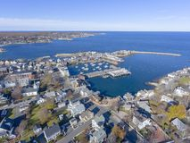 Rockport Harbor and Motif Number 1, MA, USA. Rockport Harbor and Motif Number 1 aerial view in Rockport, Massachusetts, USA. This building is a fishing shack royalty free stock photo