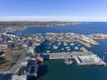 Rockport Harbor and Motif Number 1, MA, USA. Rockport Harbor and Motif Number 1 aerial view in Rockport, Massachusetts, USA. This building is a fishing shack stock photos