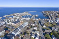 Rockport Harbor and Motif Number 1, MA, USA. Rockport Harbor and Motif Number 1 aerial view in Rockport, Massachusetts, USA. This building is a fishing shack stock image