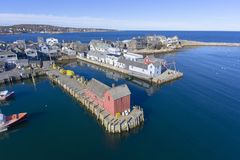 Rockport Harbor and Motif Number 1, MA, USA. Rockport Harbor and Motif Number 1 aerial view in Rockport, Massachusetts, USA. This building is a fishing shack royalty free stock images