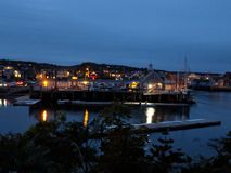 Rockport on the sea at nighttime royalty free stock photo