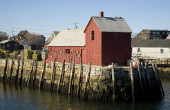 Rockport Shed. Red shed surrounded by water in Rockport, MA Royalty Free Stock Image