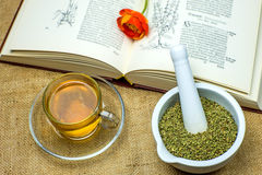 Rockrose tea with medieval textbook. And flower Royalty Free Stock Photo