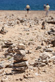 Rocks. It is said that if you pile up some rocks from the Northeastern Side of Aruba, someday you will come back to the place. The whole Northeastern Coast of Royalty Free Stock Photos