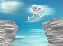 Rocks. 3d people- human character jumping over a chasm. 3d render illustration Royalty Free Stock Photos