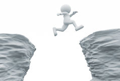 Rocks. 3d people- human character jumping over a chasm. 3d render illustration Stock Photography