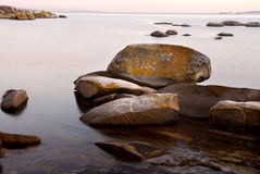 Rocks. Mist in the ocean, coast of north of spain Stock Photos