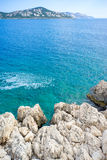 Rocks, Aegean Sea and Kas Peninsula. Taken from Route D400, the famous road for self-driving tourists royalty free stock photography